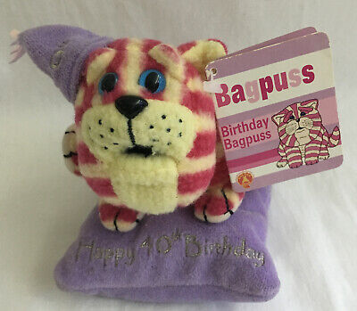"Happy 40th Birthday Plush (approx 5"") - Bagpuss Sat On Cushion"