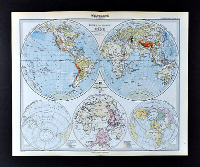 1892 Stieler Map World Hemispheres Africa Europe Asia Australia America North