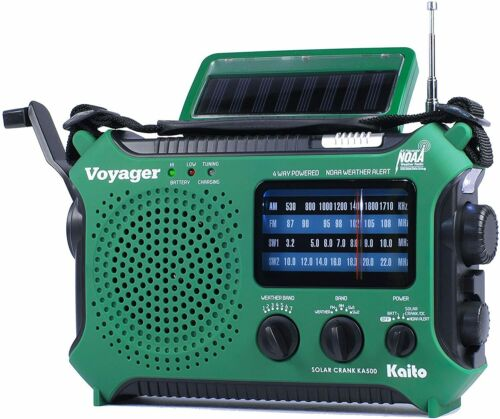 Kaito KA500 AM FM Shortwave Dynamo Solar Crank Emergency Weather Radio Green
