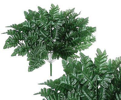 "17"" Leather Fern 12-Leaflet Detachable Bush Greenery Filler Home Wedding Decor"