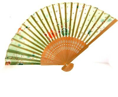 Vintage Hand Painted Japanese Fan Floral 7.5x14.5