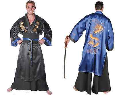 ADULT JAPANESE SAMURAI WARRIOR KUNG FU DRAGON MASTER COSTUME BLACK BLUE (Japanese Samurai Costumes)