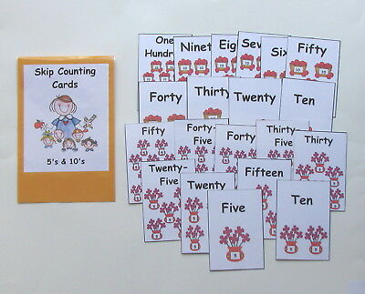 Teacher Made Math Resource Skip Counting Cards 5's & 10's