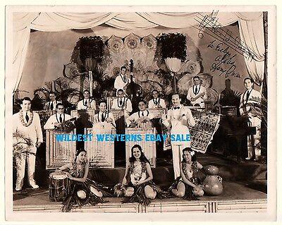 Vintage Hawaii Girls HARRY OWENS Royal Hawaiians band signed photo Music Quote