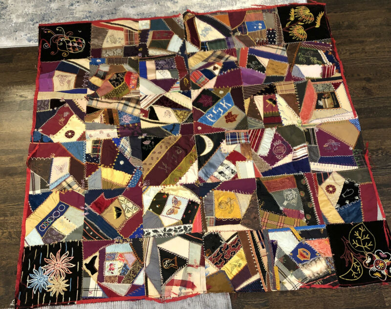 Stunning Antique Crazy Quilt, Dated 1889, For Caroline Kenyon Slocum