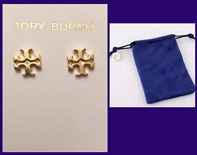 Stud Pouch - AUTHENTIC TORY BURCH LOGO STUD EARRINGS-SHINY GOLD W/TB POUCH -RV $75-NEW!