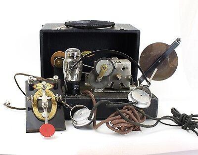 Antique Teleplex Telegraph Machine w/ Case, Accessories & Tubes MUSEUM PIECE