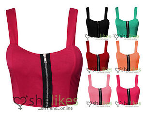 Womens-Crop-Top-Ladies-Zip-Front-Padded-Crop-Strap-Bralet-Bra-Top-8-10-12-14