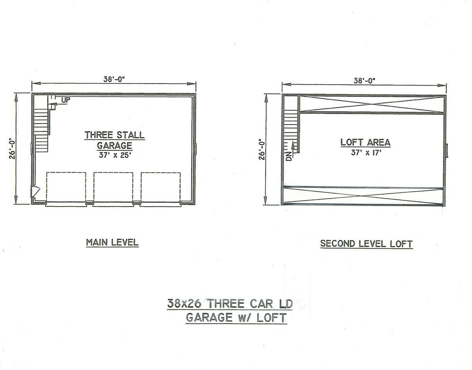 38x26 3 Car Garage Building Blueprint Plans W Wlkuploft