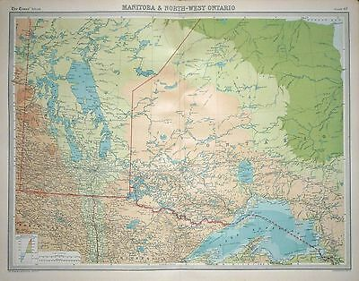 1920 LARGE MAP ~ MANITOBA & NORTH-WEST ONTARIO ~ 23