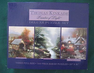 "Thomas Kinkade Deluxe Jigsaw Puzzle Set of 3 500 Piece Each 20""x16"" New"