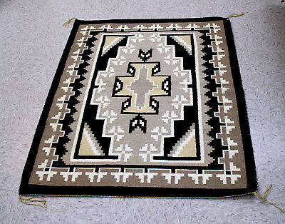 """Navajo Two Gray Hills Rug by Emma Smiley with Spirit Line 46"""" x 36.5"""" c.1970"""