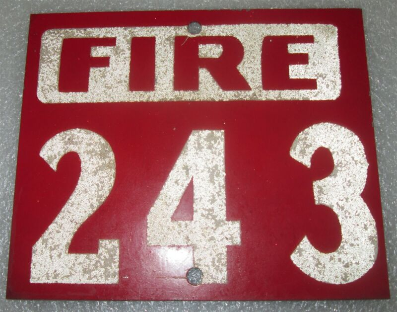 FIRE DEPARTMENT: Vintage Metal Rural Number Plate 243- NOS SIGN MARK