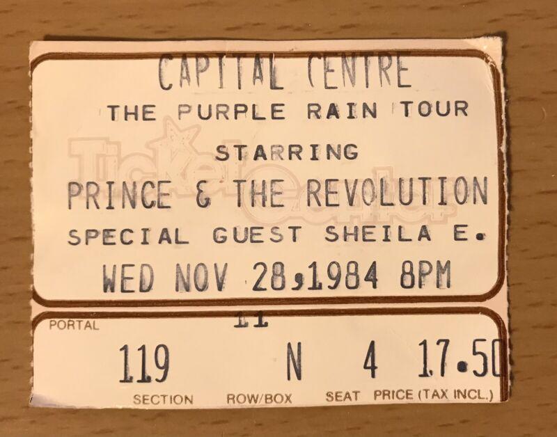 1984 PRINCE & THE REVOLUTION PURPLE RAIN TOUR WASHINGTON CONCERT TICKET STUB N4
