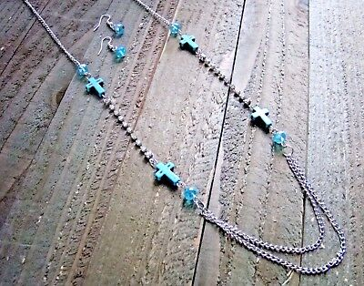 Turquoise Cross Necklace Earrings Rhinestones Beads Long Set Cowgirl Jewelry ()