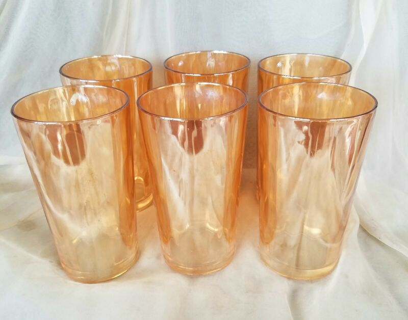 "Set of 6 Luster Iridescent Carnival Glass Optic Tumblers 5"""