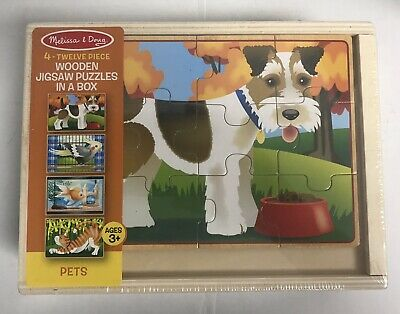 Melissa & Doug Pets 4-in-1 Wooden Jigsaw Puzzles In Box NEW](Melissa And Doug Toys)