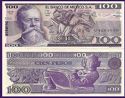 "Mexico P74a/c, 100 Pesos, ""La Trinchera"" painting /  Chac Mool stone figure  UNC"