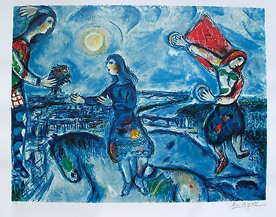 "MARC CHAGALL ""LOVERS OVER PARIS"" Limited Edition Facsimile Signed Lithograph"