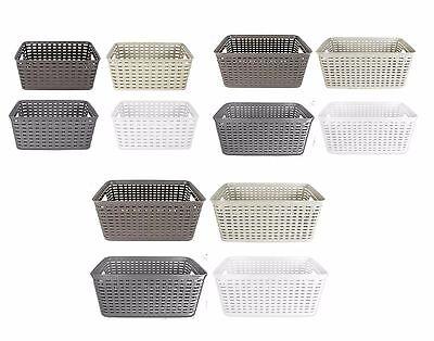 Rattan Style Rectangle Plastic Garden Storage Fruit Basket