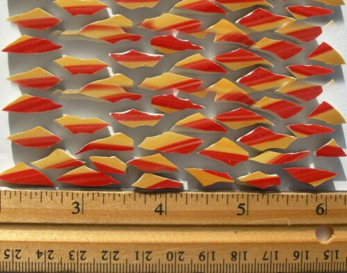 """Yellow Red Wave Shape Broken China Mosaic Tiles, 70 Small Tiles 1/2"""" x 1/4"""""""
