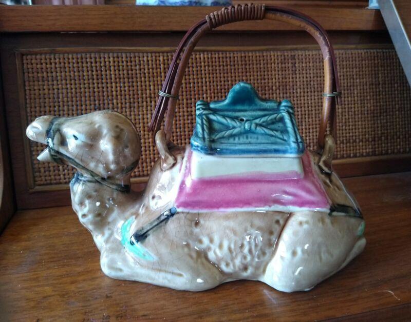 Early 20th c Japanese Antique Tashiro mark reclining  camel teapot bamboo handle