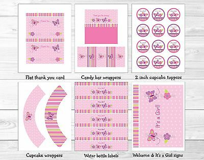 Baby Girl Pink Butterfly Garden Printable Baby Shower Party Package