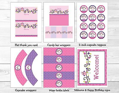 Pink Owl Blossom Printable Birthday Party Package