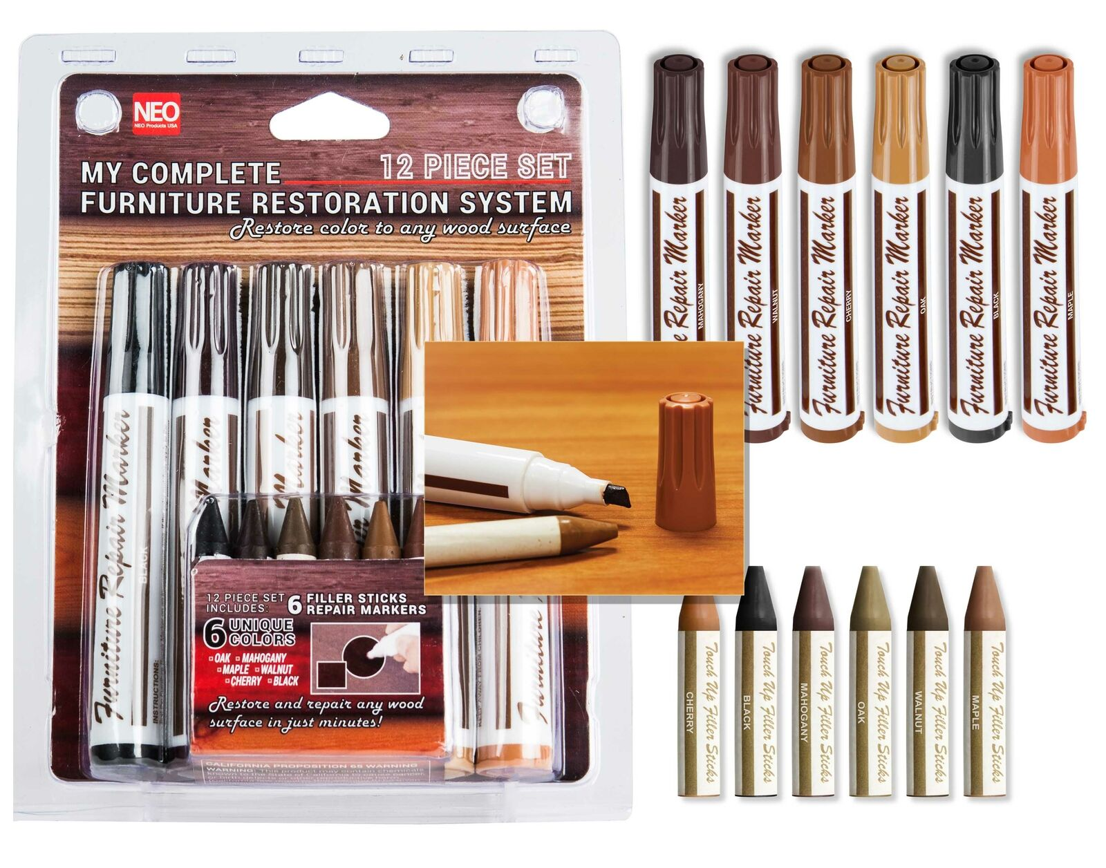 12 Pc Furniture Restoration Wood Stain Markers Set with Filler Sticks