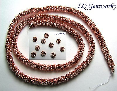 """16"""" Str BRIGHT COPPER 6mm Daisy Spacer Beads"""