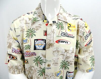 ESPN Sports Center Beige Multicolored Hawaiian Aloha Camp Button Up Shirt M (Hawaiian Center)