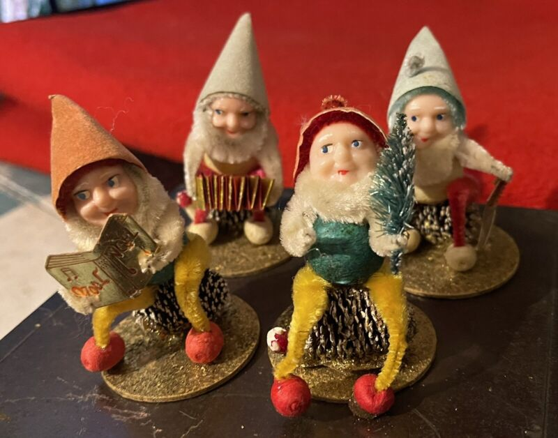 Vintage Antique Christmas Pinecone Ornaments Elves Gnomes Pixies Elf Lot Of 4