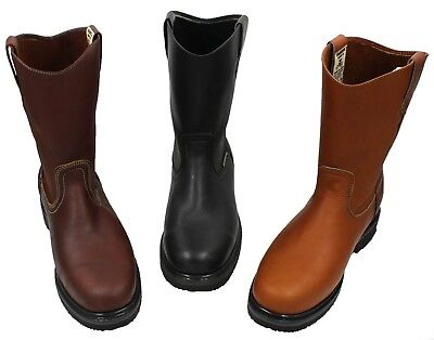 Men's Best Work Boots Pull On Leather oil water slip resistant Size