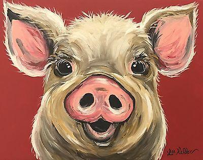Купить Pig Art Print from original canvas pig painting 8x10, signed by artist