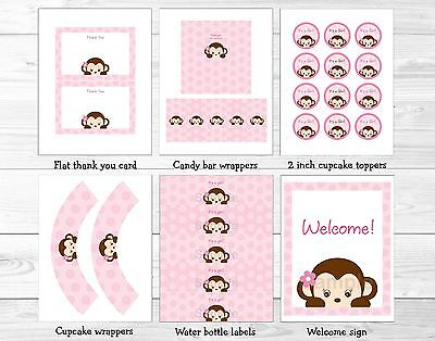 Girl Pop Monkey Pink Printable Baby Shower Party Package