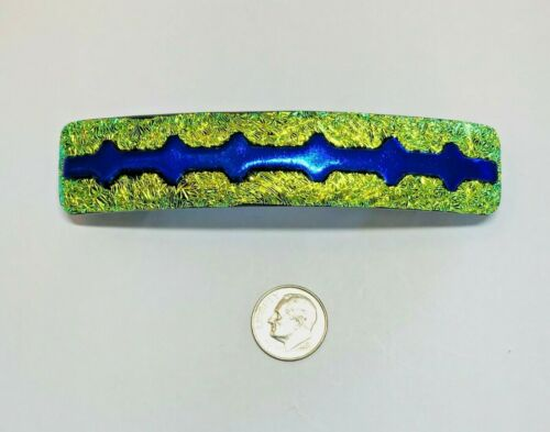"""Handmade By Janet Wolery - 4"""" Dichroic Fused Glass Hair Barrette - YELLOW GAP"""