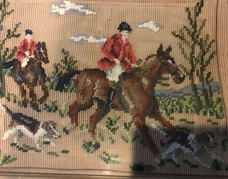 Equestrian Horse Rider Framed Needlepoint Picture Wall Hanging