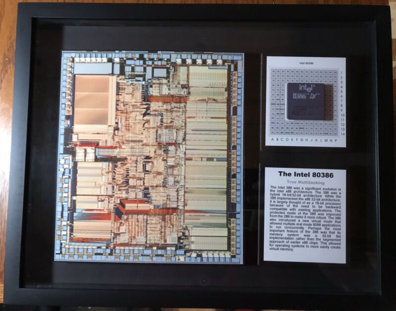 ChipScapes (TM) Intel 80386 Microprocessor Framed Mixed Media Artwork LE 4/50