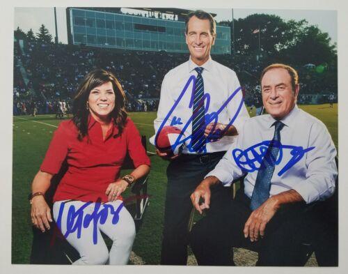 Al Michaels Cris Collinsworth Michele Tafoya Signed 8x10 Photo NFL Broadcasters