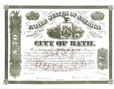 CITY OF BATH (MAINE).........1869 THIRTY YEAR BOND