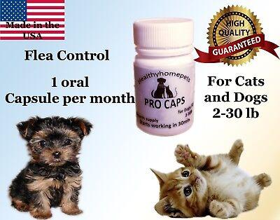 Pro Caps Pro Flea Control Killer Dogs Cats 2-30 lb 6month prevention kills eggs