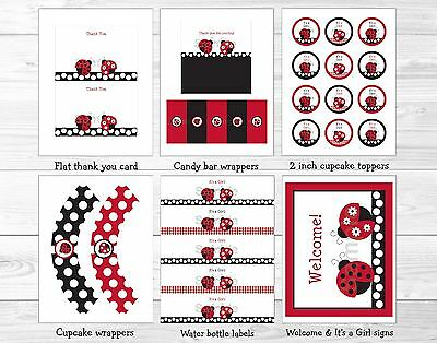 Little Red Ladybug Printable Baby Shower Party Package](Baby Shower Decoration Packages)