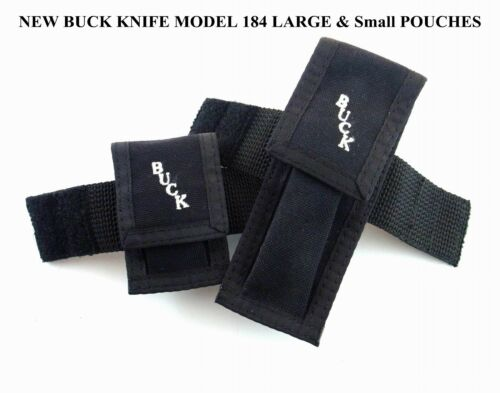 NEW NEVER USED BUCK KNIFE KNIVES MODEL 184 LARGE and SMALL POUCH GOOD CONDITION