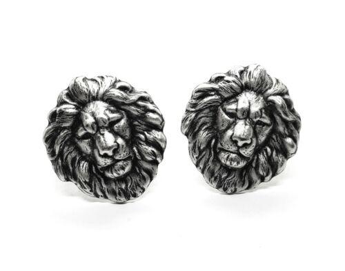 Handmade Oxidized Silver Lion Cuff Links