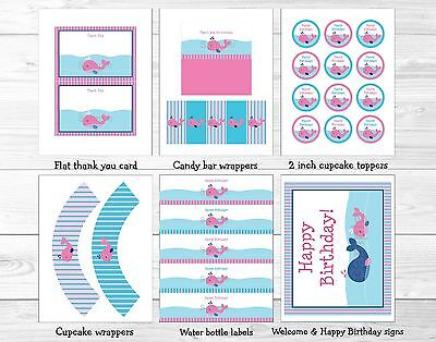Pink Whale Nautical Printable Birthday Party Package - Whale Party Supplies