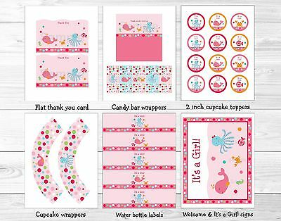 Pink Under the Sea Printable Baby Shower Party Package (Under The Sea Baby Shower Decorations)