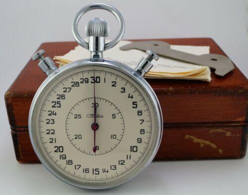 Vintage Mechanical Stopwatch SLAVA in Wooden Box made in USSR Soviet Russian