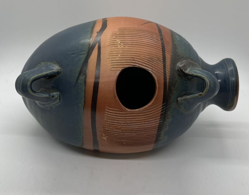 """Udu Clay Drum Latin Music Percussion Instrument 9.5"""" Brown Blue Green Signed"""