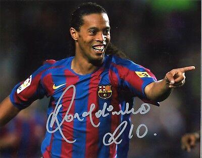 Ronaldinho Signed Autographed Soccer Player Brazil Barcelona 11x14 Photo RP](Soccer Player Photo)
