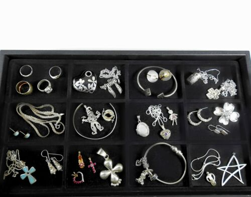 Vintage Sterling Silver Jewelry Lot Solid 925 Huge Estate Bracelets Rings #3